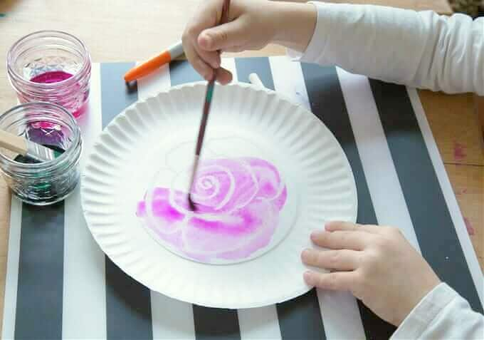 watercolor resist on paper plate for mini basket