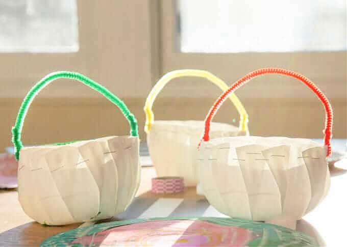 white mini baskets from plates