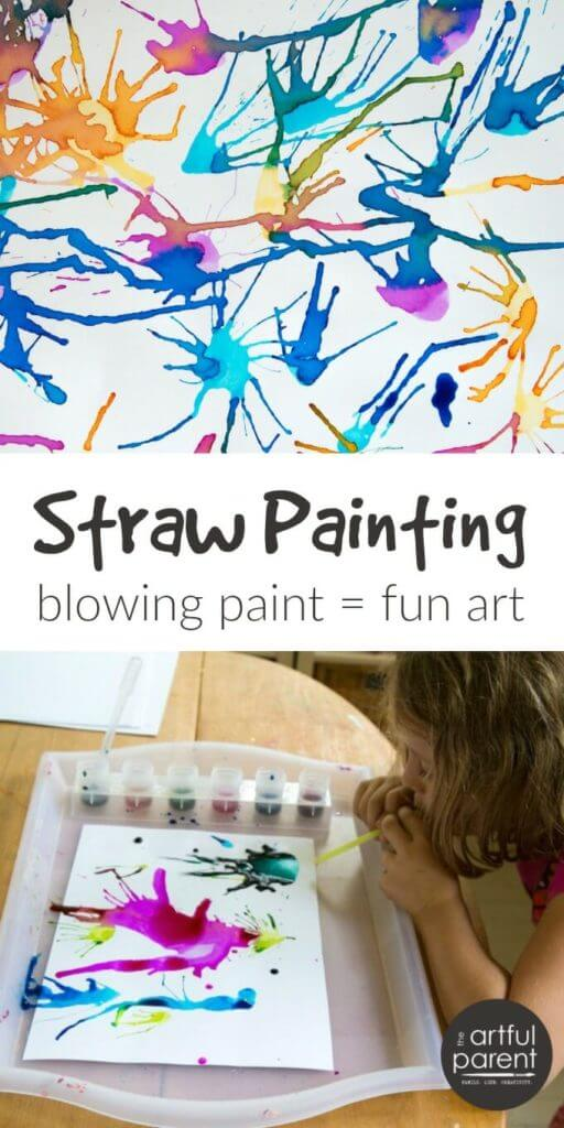 Blow Painting With Straws Is Simple Yet Lots Of Fun For Kids All Ages