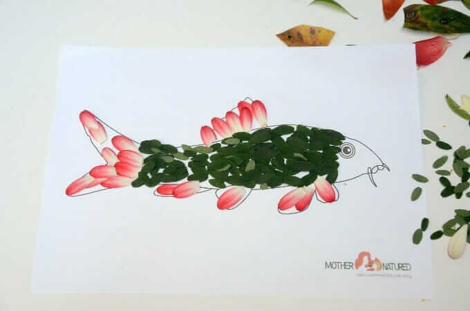 Nature Fish Craft with Flower and Leaf Scales