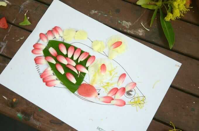 Nature Fish Craft with leaves and flower petals