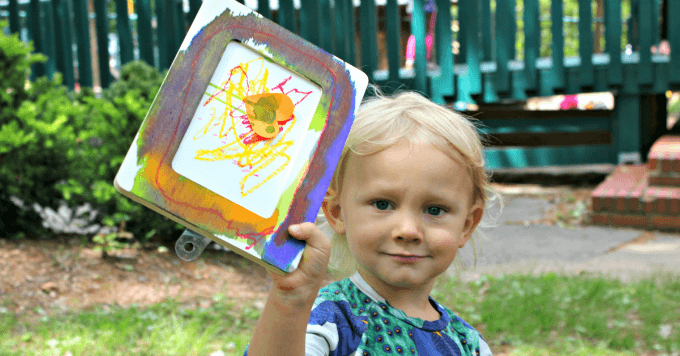 wooden frame painting with little kids a simple handmade gift - Picture Of Little Kids