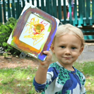 Wooden Frame Painting with Little Kids