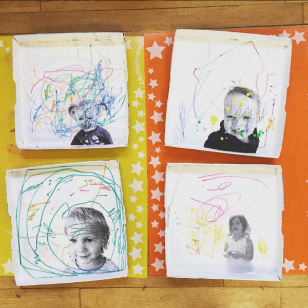 Self Portrait Art with Little Kids