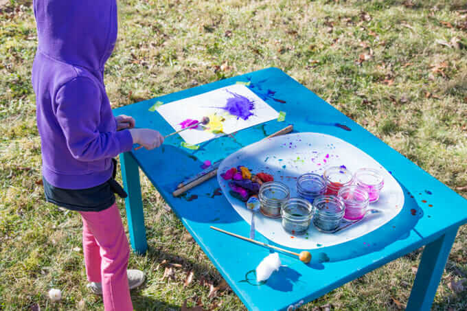 Splat Painting with Kids - Pounding with a Wood Mallet