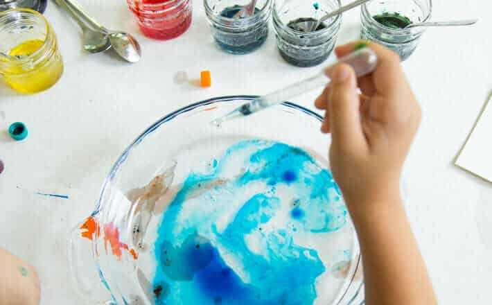 Marbling with Oil - Drop the Color Mixture Onto Water
