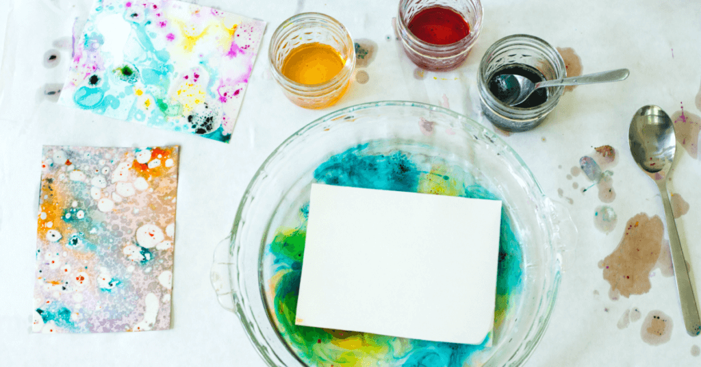 Marbling With Oil And Food Coloring Easy And Beautiful