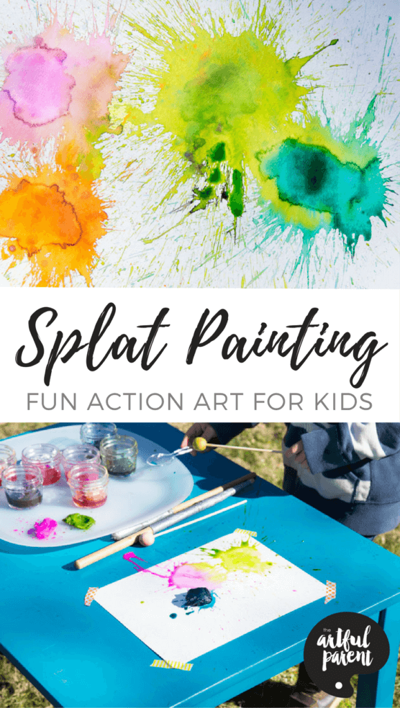 Splat painting is easy peasy and super fun for active kids. This simple action art activity involves hitting paint-soaked cotton balls with a small mallet. #kidsart #kidsactivities #summeractivities #watercolor #painting #artsandcrafts