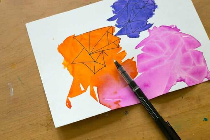 DIY Geometric Watercolor Art with Doodling
