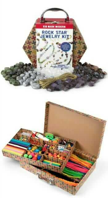 Kids Craft Kits by Kid Made Modern including the Rock Star Jewelry Kit and the Arts and Crafts Library