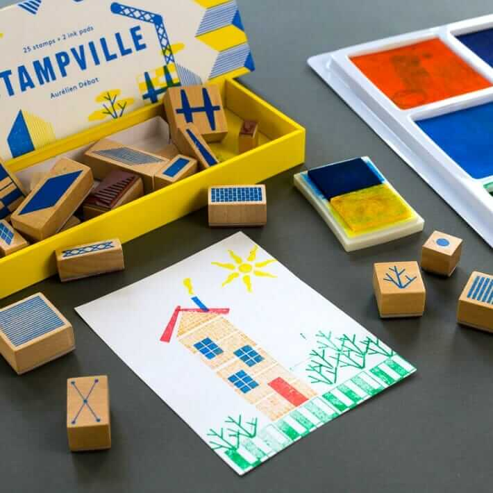 Using Stampville Stamps to Build Houses (and Thank You Cards)