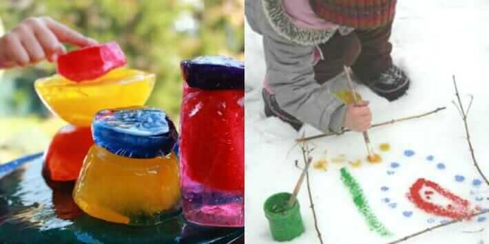 Winter Activities for Kids - Colored Ice Sculptures and Painting Snow