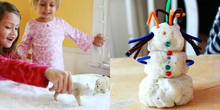 Winter Activities for Kids - Small World Play and Snowman Playdough