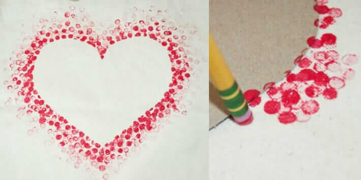 Dot Print Heart with Pencil Eraser
