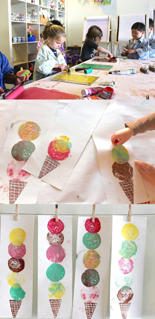 Ice cream Art - Easy Printmaking for Kids