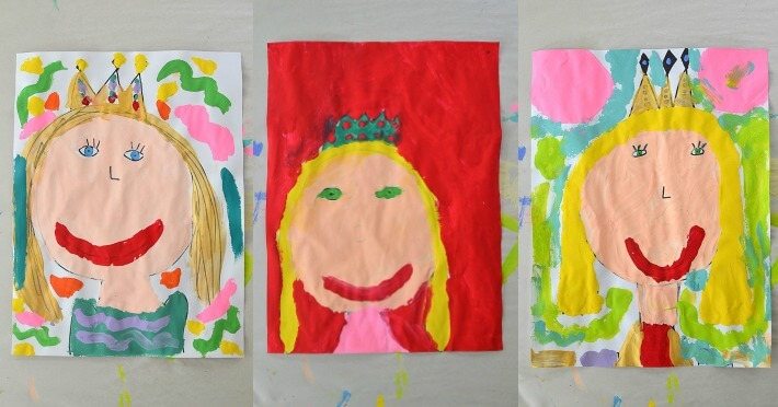 Queen Mom Mother's Day Portrait Paintings by Kids - Three in a Row