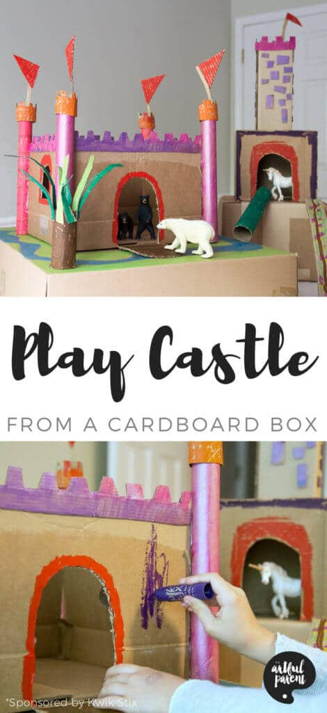 Here's how to make a cardboard castle for kids' pretend play QUICKER and EASIER than you thought possible. You'll want a cardboard box, cardboard tubes, a glue gun, and some paint sticks. That's all! #cardboard #craftsforkids #dollhouse #kidscrafts #play #playroom