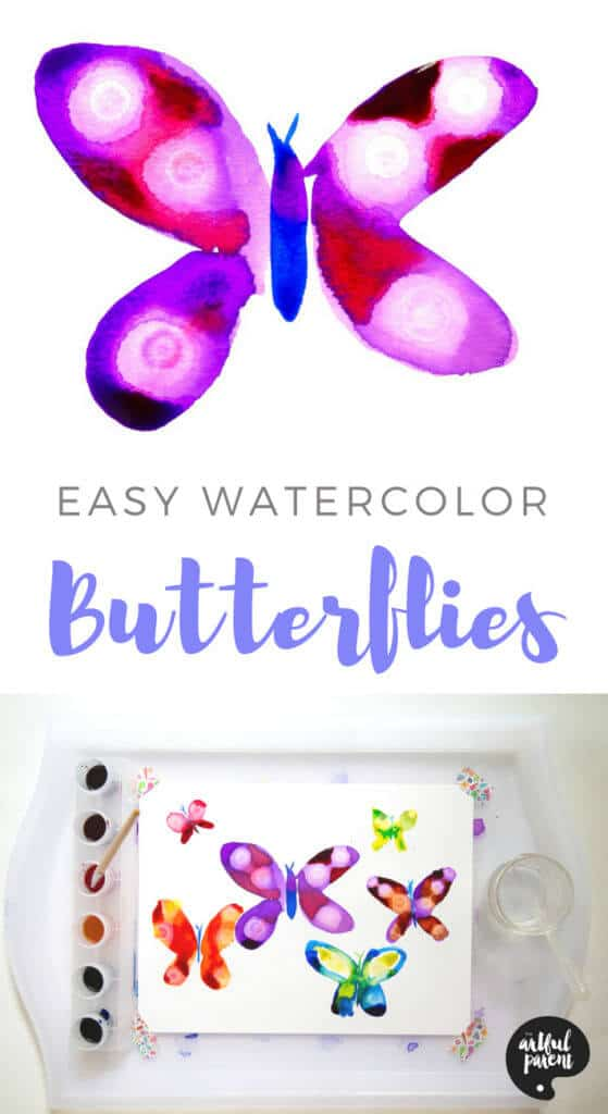 How to paint beautiful watercolor butterflies using the rubbing alcohol technique for the decorations on the butterfly wings. A fun art idea for adults and kids alike. #watercolor #butterflies #artsandcrafts #paintingtechniques #kidsart #kidspainting #paintingideas