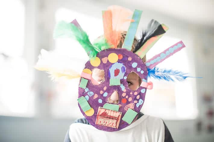 Making Cardboard Masks with Kids - colorful mask