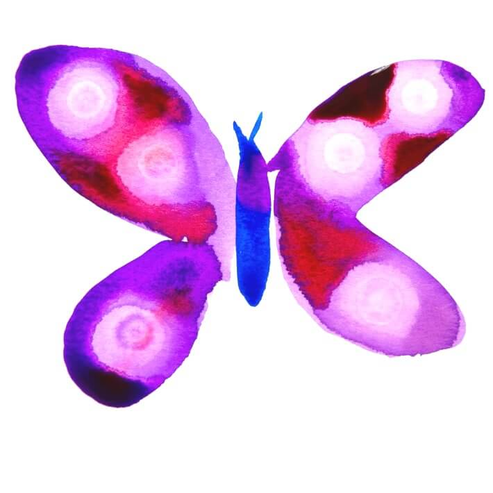 Watercolor Butterflies with Rubbing Alcohol