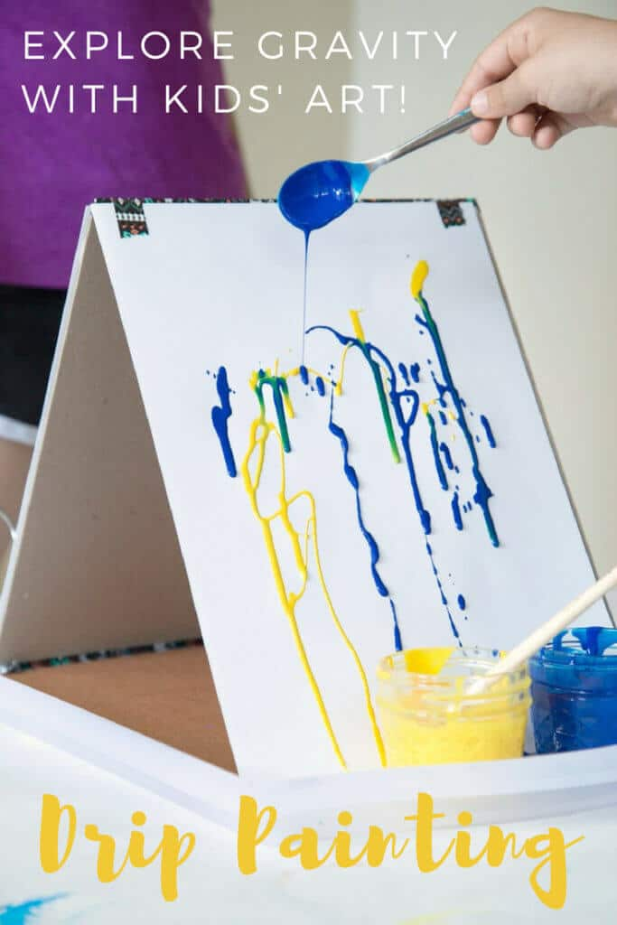 Drip painting is an easy and fun action art activity for kids. Explore gravity in art with drip painting that results in unique artworks every time. #kidsart #kidspainting #arteducation #artsandcrafts #kidsactivities #artforkids #paintingtechniques
