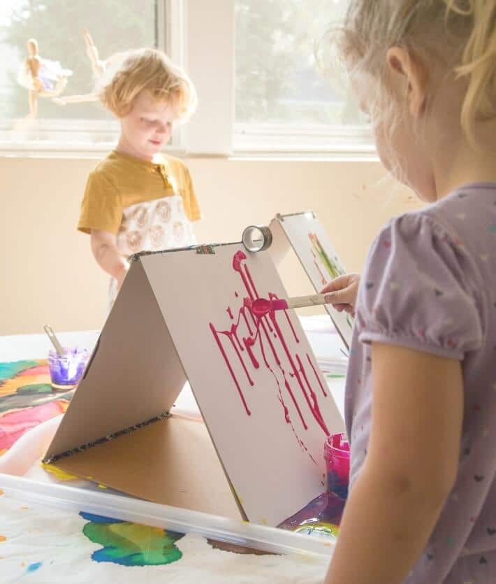 Kids Drip Painting on Double Sided Cardboard Easels