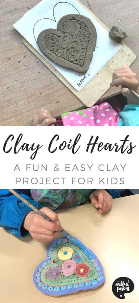 Clay Coil Hearts - Easy Clay Projects for Kids