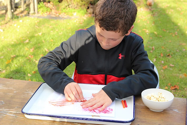 Boy making leaf rubbings on paper