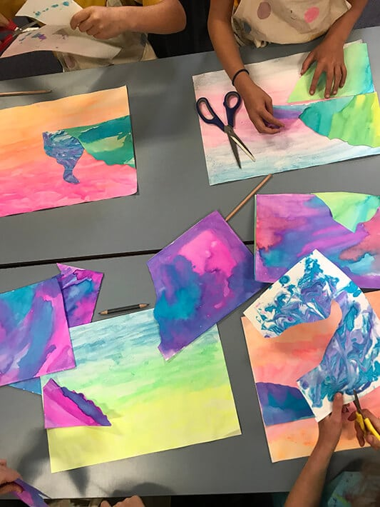 Cutting & arranging Marble Paper Art Landscape Collages