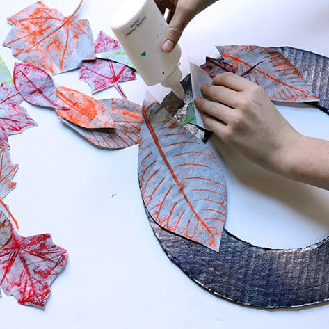 Fall leaf rubbings wreath project