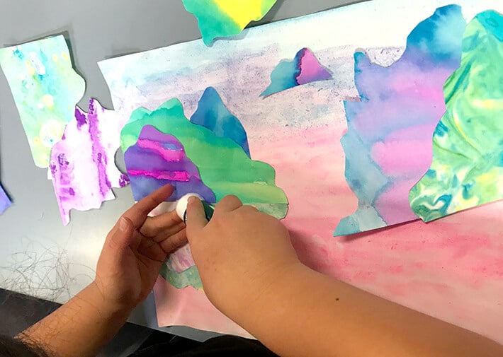 Glueing Marble Paper Art Landscape Collages