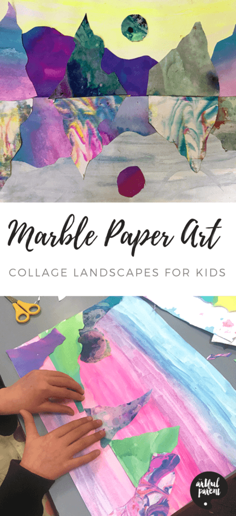 Create beautiful marble paper art landscape collages inspired by Australian artist Kate Shaw in this post by Danielle Falk of Little Ginger Studio. #kidsart #artsandcrafts #artforkids #kidsactivities #sensoryactivity #sensory
