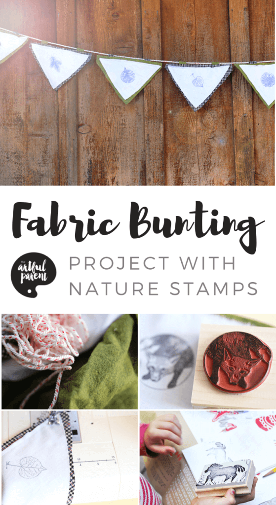 How to create a beautiful nature-inspired fabric bunting with just stamps & fabric. What a great project for kids!