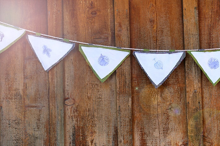 Stamped Fabric Bunting for Kids