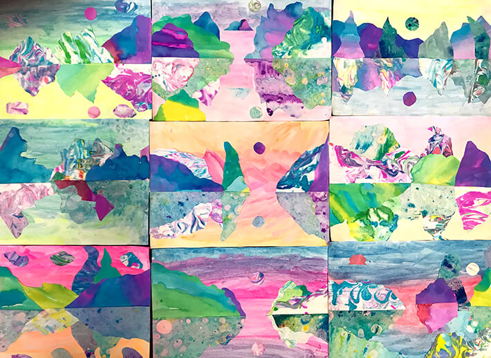 How To Make Marble Paper Art Landscape Collages For Kids