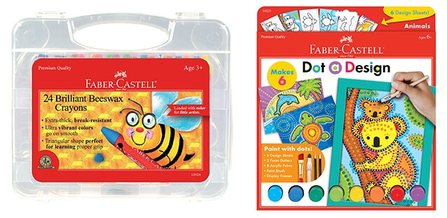 Faber Castell Brilliant Beeswax Crayons in Storage Case & Faber Castell Dot a Design-Animals