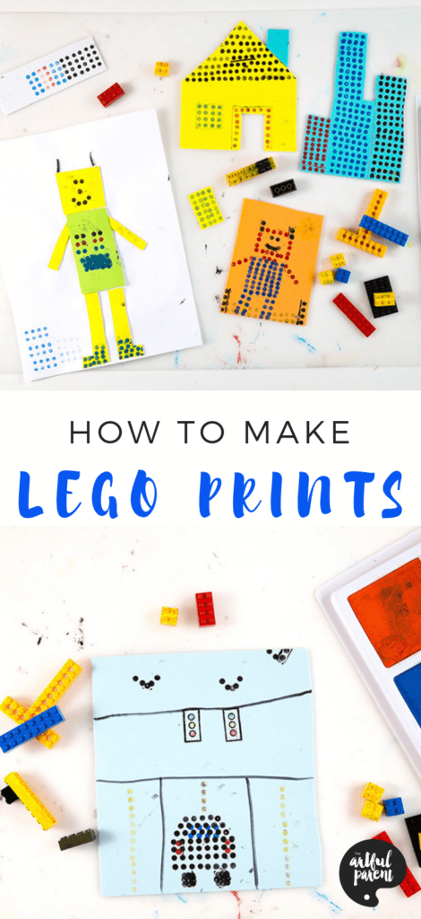 LEGO prints are a fun open-ended art activity for kids of all ages. Use LEGOs and stamp pads to create cities, flowers, mandalas, letters and much more! #kidsactivities #artsandcrafts # artforkids #kidsart #printmakingforkids #processart