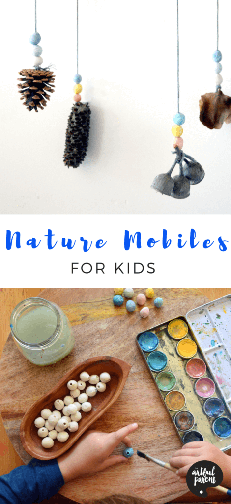 Use gathered materials from nature walks & air dry clay beads to create this beautiful nature mobile. Project & post by Abbey Donald of Wild Wattle Folk. #preschoolers #creativehome #springcrafts #wintercrafts #summercrafts #fallcrafts #kidscrafts #handmadegifts #artsandcrafts #craftsforkids #sensory #sensoryactivity #sensoryactivities