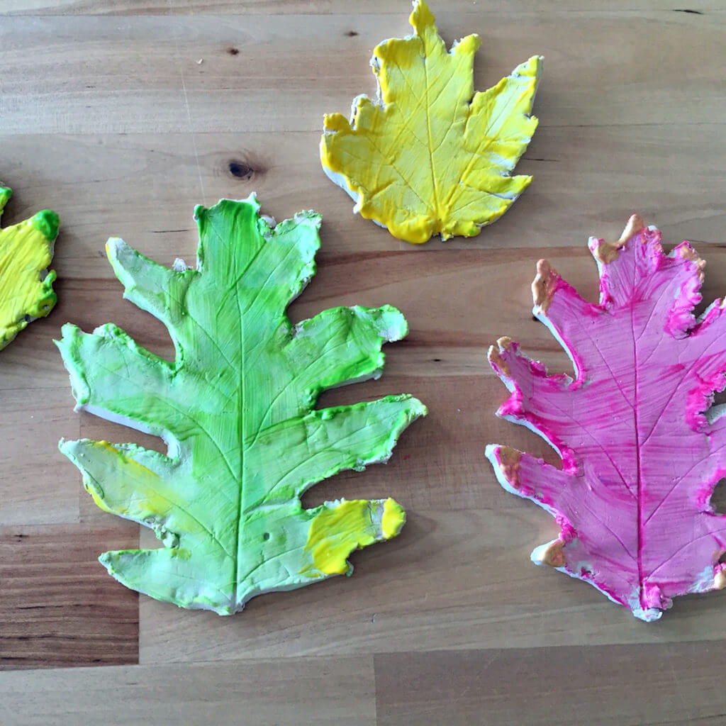Nature inspired art – painted leaf impressions in clay