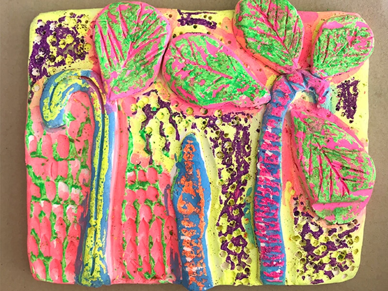 Clay relief tiles for kids