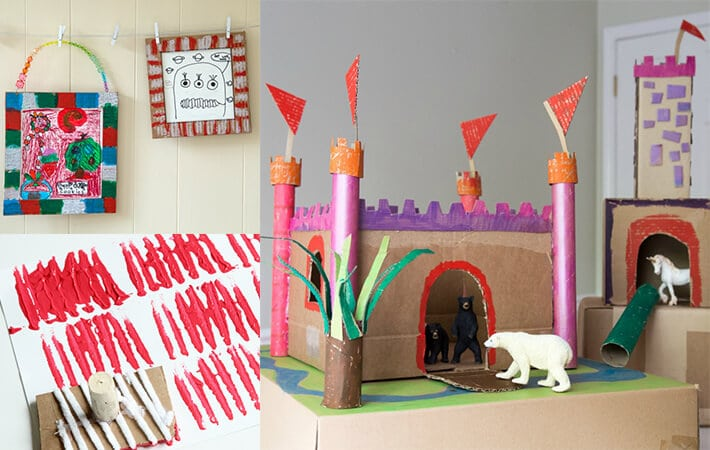 Recycled cardboard stamps, picture frames and castle – recycled art projects for kids