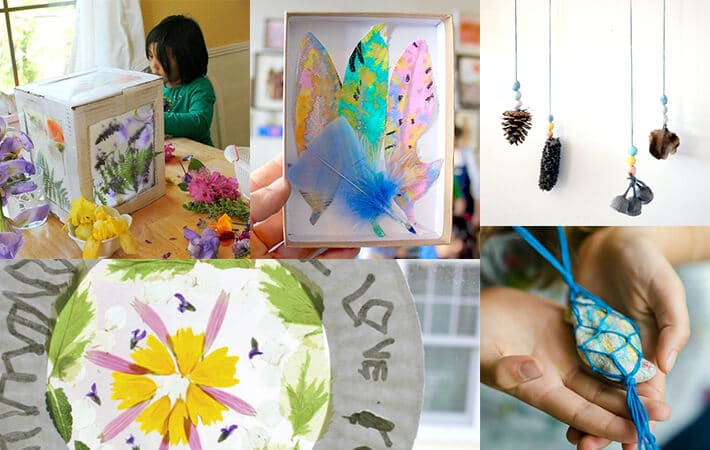 Recyled Art Projects for Kids – Nature art box, feather drawing, nature pinecone mobile, nature suncatcher, rock macrame necklace
