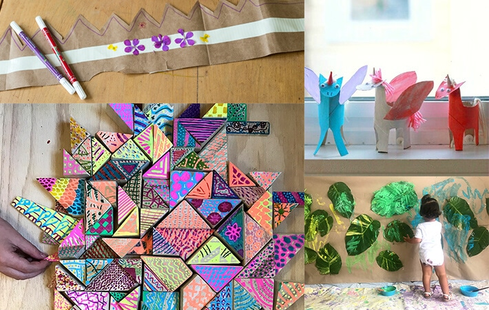 Recyled art projects for kids and nature based art for Earth Day
