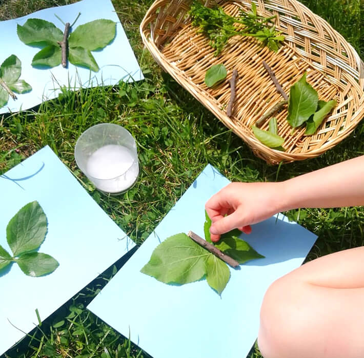 Create nature insects using leaves and sticks for play ideas for kids using natural materials.