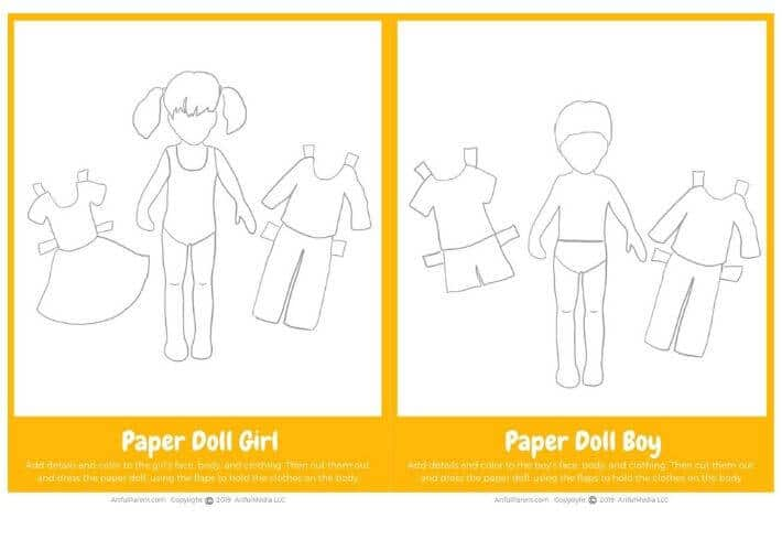 Printable Paper Doll Girl and Boy