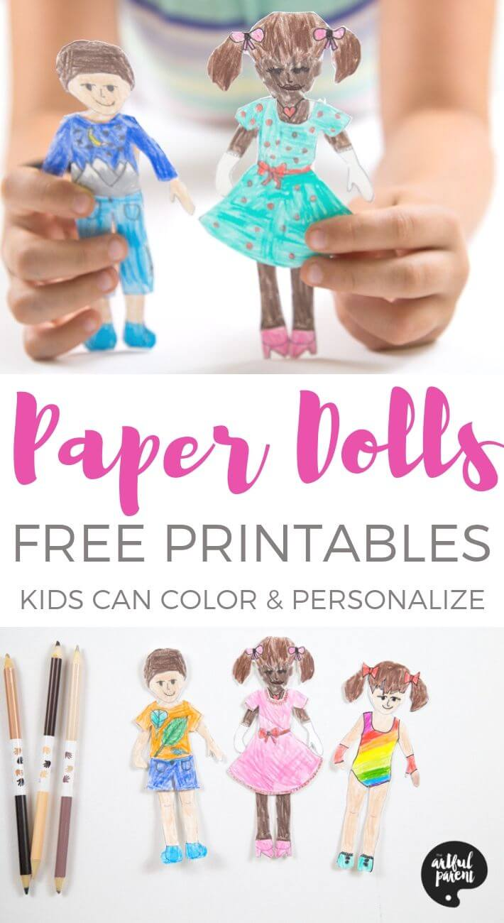 Get creative with free printable paper dolls for kids to color, personalize, and dress up. Each printable paper doll includes 2 outfits to design and color. #sponsored by Faber-Castell World Colors pencils. #printable #paperdolls #kidsart #coloringpages