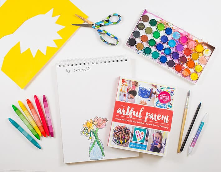 The Artful Parent book revised edition with art supplies