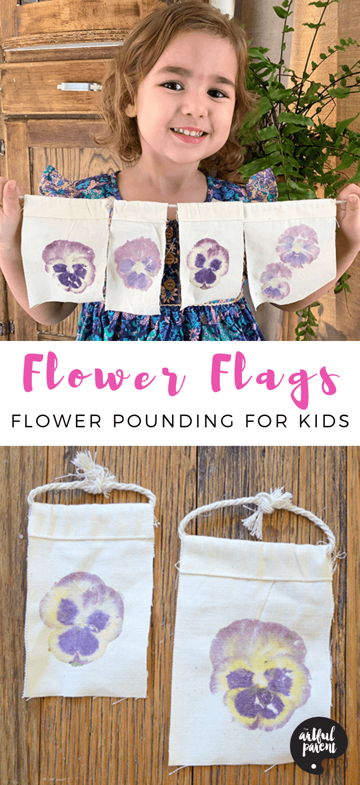 Flower flags are an amazing process art activity for kids! Watch as the pigments from the flower transfer onto canvas, creating a beautiful flower wall hanging. #preschoolers #toddlers #creativehome #springcrafts #summercrafts #spring #summer #kidscrafts #craftsforkids #flowerpounding