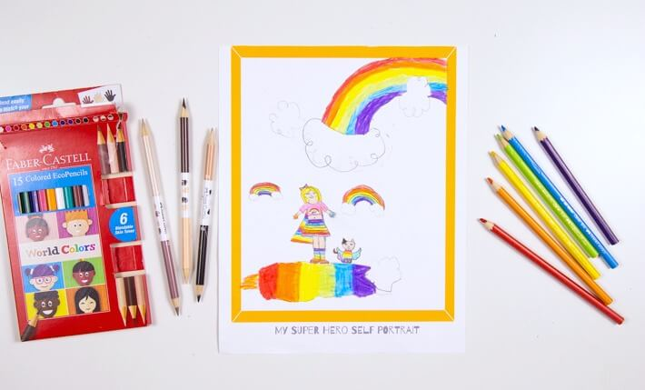 Superhero Self Portraits for Kids with Faber Castell World Colors - Daphne's Rainbow Super Powers