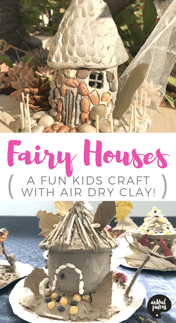 Learn how to make a fairy house using air dry clay and found materials. This activity encourage hours of imaginative play! Project and post by Danielle Falk of Little Ginger Studio. #preschoolers #toddlers #kidsart #artsandcrafts #sensory